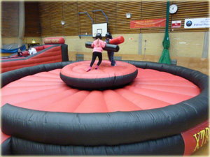Inflatable rocking gladiator joust or duel can be used as an activty at fun day events and sporting activity days.